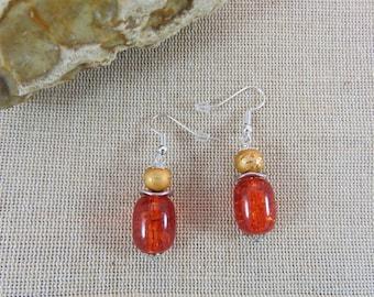 Pearl Earrings, orange beads earrings, women earring jewelry glass and metal, colorful earrings, hot jewelry
