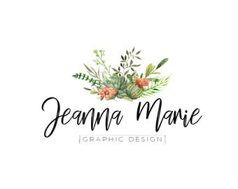 PREMADE cactus logo, succulent logo, custom shop logo, watercolor logo, floral logo