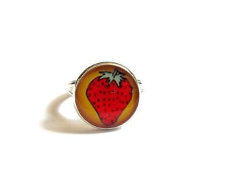 CHILDRENS RING - STRAWBERRY Ring - Little Girls Rings - Kids Rings - Girls Ring - Childs Rings - strawberry Rings for Kids - Kids Jewelry