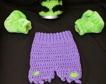 Crochet Incredible Hulk Inspired Baby Photo Prop,Newborn, Marvel, Super Hero, Handmade