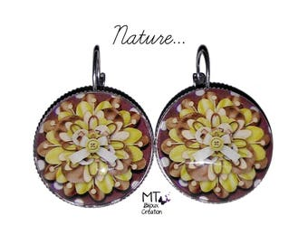 """""""Nature"""" 25mm silver plated earrings"""
