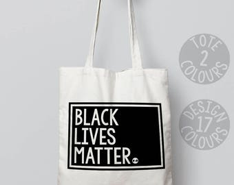 Black lives matter cotton tote bag, personalized gift for mom, birthday gift for activist, nasty woman, USA march asylum seeker woman rights