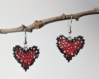 Black and Red Geometric Wooden Heart Earrings / Laser Engraved Wood With Silver Fish Hook Earrings