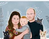 Custom Portrait, Custom Couple Illustration, Couple Portrait, valentine Gift, Anniversary Gift, Family Portrait, Wedding Gift, Birthday Gift