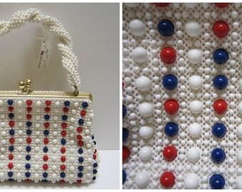Lumured Purse NEW Corde Bead Purse Kiss Lock Purse 50s Vintage Beaded Purse Bag Retro Handbag Red White and Blue Purse Croche'Bead RARE
