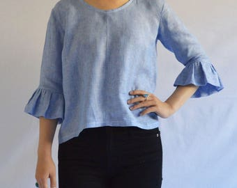 The Spring Fling Blouse: Women's Linen Blouse with Ruffled Sleeves in Light Blue