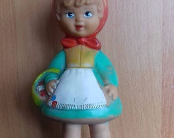 Vintage Little Red Riding Hood Rubber Squeak Doll from 70's