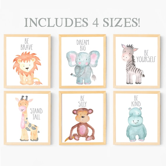 Baby Animal Nursery Wall Art Print Printable Watercolor Animal