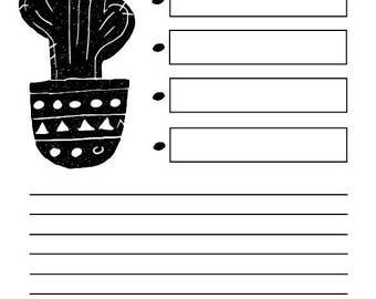 Black and white, potted cactus, printable, To Do list, organiser, planner, digital download,