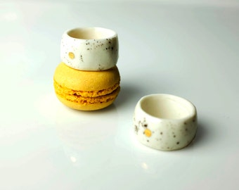 Ceramic Ring, Porcelain Ring, Handmade Porcelain Ring, Ceramic Ring, Ceramic Jewelry, Porcelain Jewelry, Handmade Jewelry, Gold Porcelain.