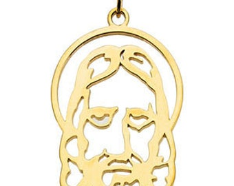 14K Yellow Gold Silhouetted Face of Jesus Pendant 25x17mm Medal Charm Religious Jewelry