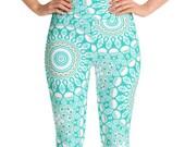 Leggings turquoise taille haute pantalon de Yoga, des femmes imprimé jambières, Leggings Mandala Aqua