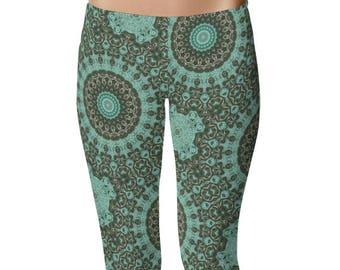 Green Pattern Yoga Pants, Emerald Mandala Art Leggings, Printed Yoga Leggings, Green Leggings