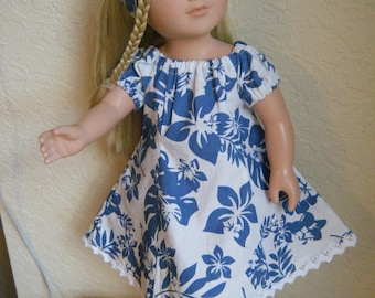 """Hawaiian Sundress, White with Blue Flowers, 18"""" Doll, My Life As, 18 inch Doll Clothes, Handmade with Love"""