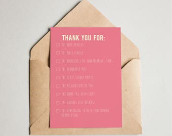 Thank you... fun ticklist Mothers Day / Happy Birthday Mum / Thank you Mum card