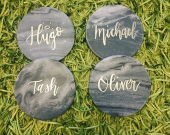 Hand Lettered Marble - Round Grey
