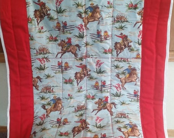 Baby quilt/hand made baby quilt/cowboy baby quilt/baby quilt with cowboys
