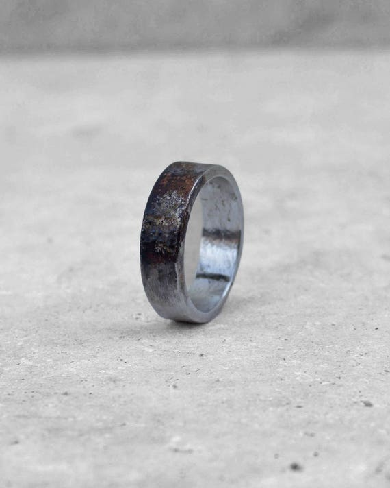 Wide + heavy sterling silver band ring. Blistered 14k gold textured center. Hand crafted. Unisex.