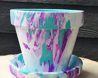 White, Turquoise, Magenta, and Pink Hand-Painted Pot//Hand-Painted Terracotta Pot//Hand-Painted Flower Pot