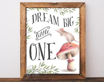 Dream big little one, nursery decor, wall art, print, instant download, nursery print, art print, nursery, baby shower gift nursery wall art