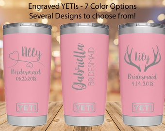 Bridesmaid Yeti, Pink Yeti, Engraved 20 oz Yeti, 20 ounce engraved Yeti, Engraved Yeti Tumbler, Engraved Yeti Rambler, Bridal Party Gift