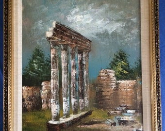 OIL PAINTING on canvas, signed, matted, and professionally framed of Roman Ruins in Italy.