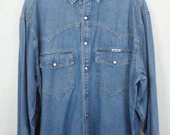 Vintage shirt, HIS jeans shirt, HIS vintage, light denim, long sleeves, oversized