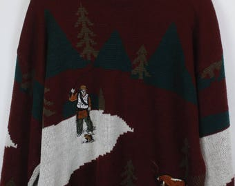Vintage Sweater, Vintage Knit Pullover, 80s, 90s, red and green, fisher and deer, oversized look