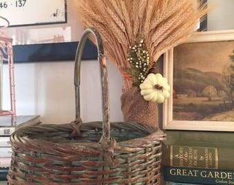 Vintage Green Gathering Basket Cane Handle