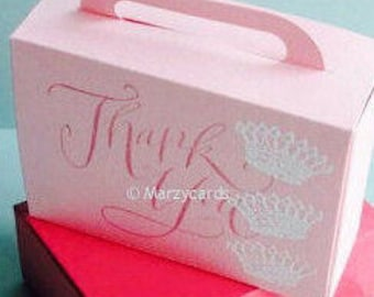 Pink Rose Suitcase Gift Box Set of 10 Marzycards Wedding Favour Boxes, Luxury Card Luggage, Birthday Baby Bridal Shower Party Bags for Her