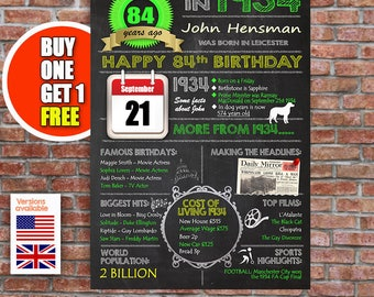 84th birthday gift, 84 years old, personalised 84th present, US and UK versions