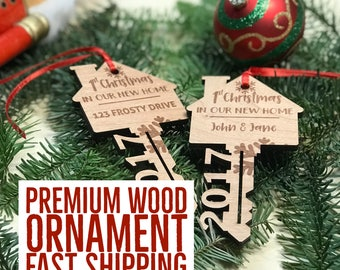 First Home Ornament 2017 - First Christmas New Home Ornament - Housewarming Gift - Our First Home - Our New Home  - Wood Key - Gift Under 15