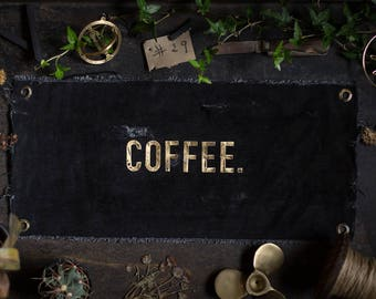 COFFEE. Brass letters on UPCYCLING JEANS in the used - industrial - vintage look