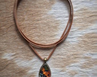 Leather Wrap Boho Choker // Real Butterfly Jewelry // Brown Leather Choker // Sunset Moth Necklace // Bohemian Jewelry // On Trend Jewelry
