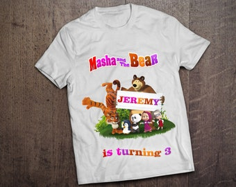 Masha and the bear Iron On Transfer. PERSONALIZED Masha and the bear Birthday Shirt. Masha e orso Birthday Shirt. DIGITAL FILE