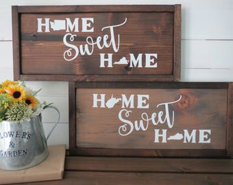 CUSTOM Wood Home State Sign - Custom Wood State Sign - Rustic State Sign - US State Sign - Rustic Home State Sign - Walnut Stain Sign