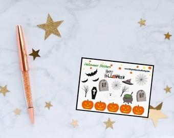 Halloween Planner Stickers, Happy Halloween, Pumpkin Stickers, Halloween Decor Stickers, Tombstone Stickers, Vinyl Stickers
