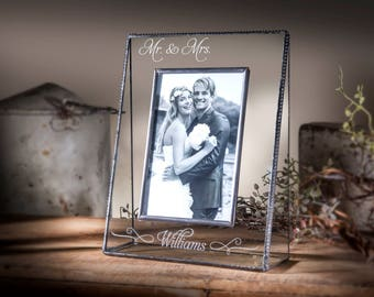 Wedding Gift Engraved Picture Frame Personalized Wedding Photo Frame Stained Glass Gifts for Wedding Party 5x7 Vertical Pic 319-57V EP503