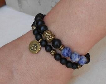 Shungite Bracelet Buddha Shungite Mala Bracelet Yoga Set of 2 Men Bracelets Yoga jewelry Buddha Bracelet Yoga Black Gemstone Bracelets Om