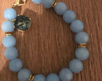 Glass Blue as the Sky Bracelet