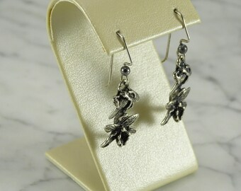 Sterling Silver Orchid Dangle Earrings (pierced)