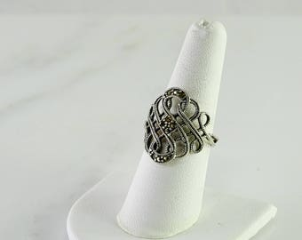 Open Scroll Marcasite Sterling Ring Size 8