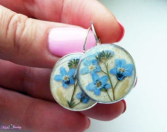 FREE SHIPPING Earrings forget-me-nots Real flowers resin Nature jewelry Dried flowers Unique jewelry resin Glow earrings Gift mother's bride