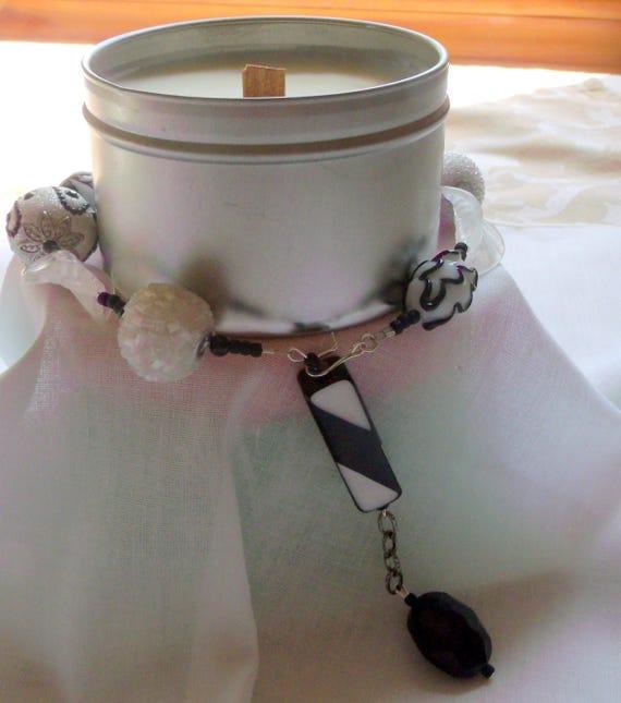 Silver- black- white candle decor idea - glitz candle bling -  geometric beads - wrap- table decor - wax decorations -  pillar- tin -  gift
