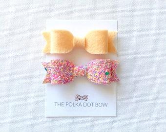 Mini Bow Hair Clips | Baby Hairclips | Toddler Hair Clips | Hair Clips | Glitter Bows | Mini Glitter Bows | Baby Hair Clips | Felt Hairclips