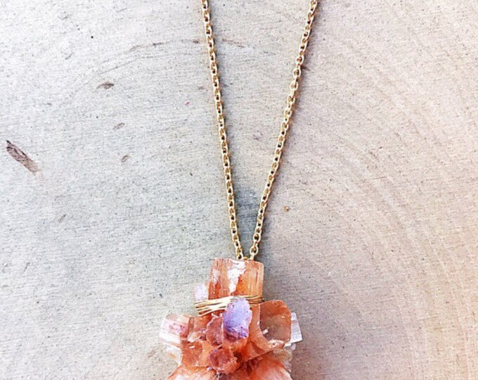 Reiki-Infused Aragonite Necklace, Healing Crystal Pendant, Silver Gold Chain, Gemstone Statement Jewelry, Natural Stone, Bohemian, Handmade
