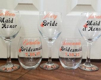 Bridesmaid Wine Glasses, Bridesmaids Glasses, Wedding Glasses, Wedding Wine Glasses, Bridesmaids Gifts, Wine Glasses
