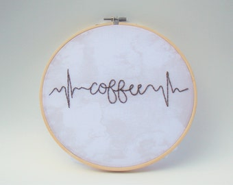 Coffee Heartbeat Embroidered Hoop