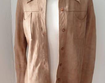 Seventies 1970er Wildleder Hemd Suede Shirt Jacket Beige EU 36