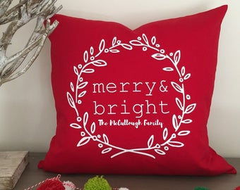 Personalized Family Christmas Pillow Cover, Merry and Bright 20x20 in pillow, Neighbor gift, teacher gift, Christmas throw pillow present